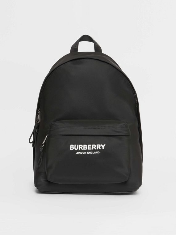 Logo Print Nylon Backpack in Black