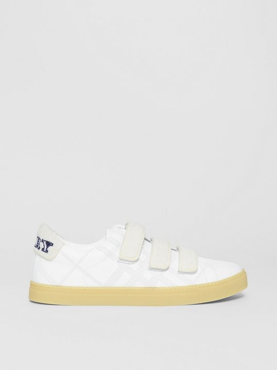 Strap Detail Perforated Check Leather Sneakers in Optic White