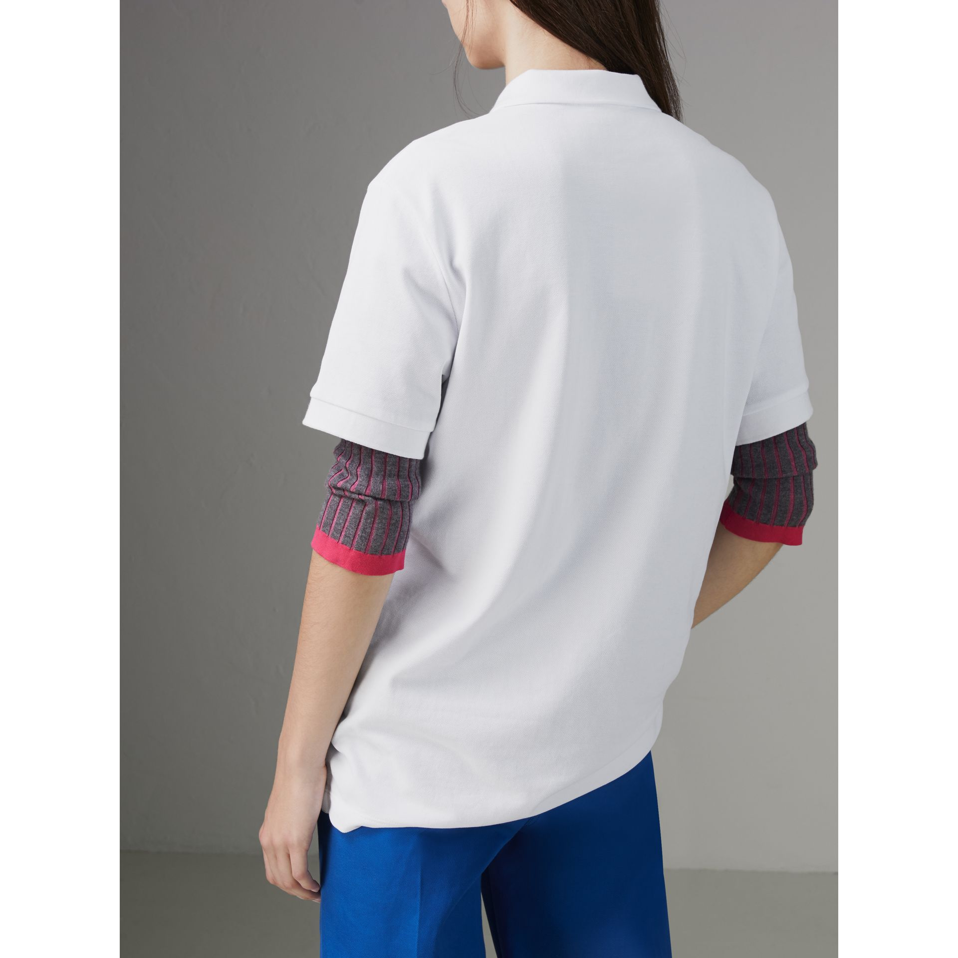 Check Placket Cotton Piqué Polo Shirt in White - Women | Burberry United States - gallery image 2