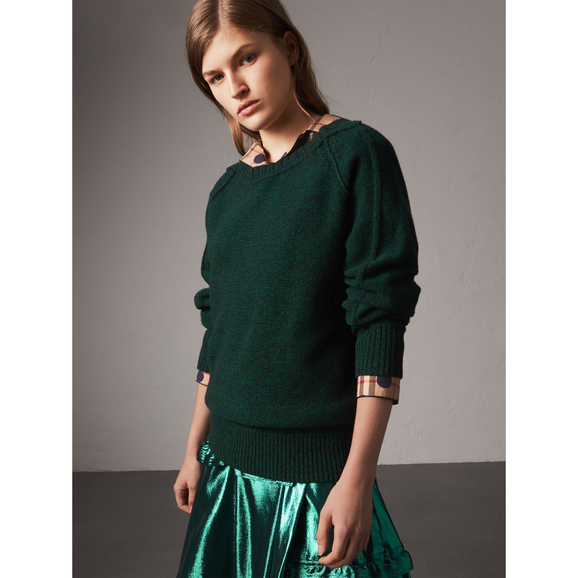 Melange Wool Sweater in Dark Forest Green - Women | Burberry - gallery image 1
