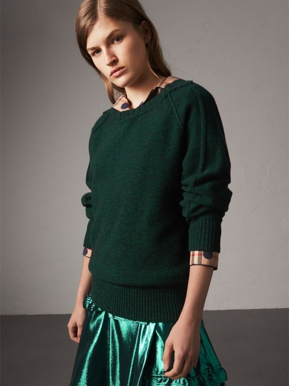 Melange Wool Sweater in Dark Forest Green