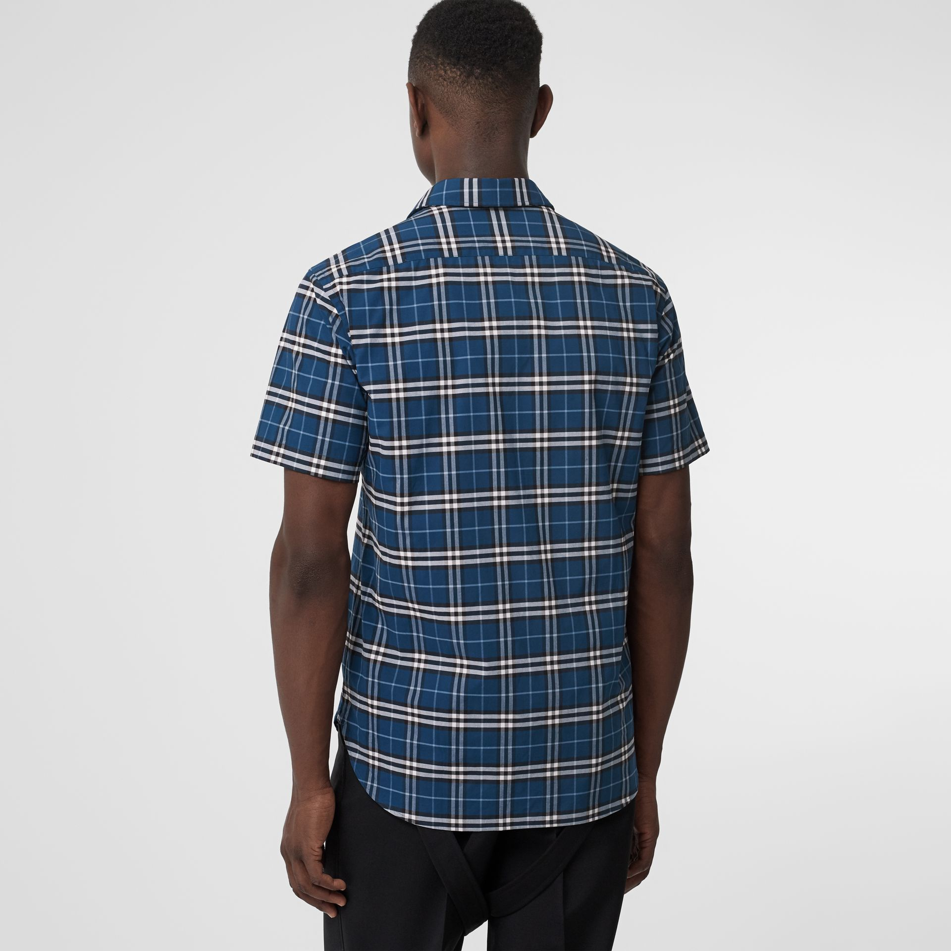 Short-sleeve Check Stretch Cotton Shirt in Steel Blue - Men | Burberry Singapore - gallery image 2