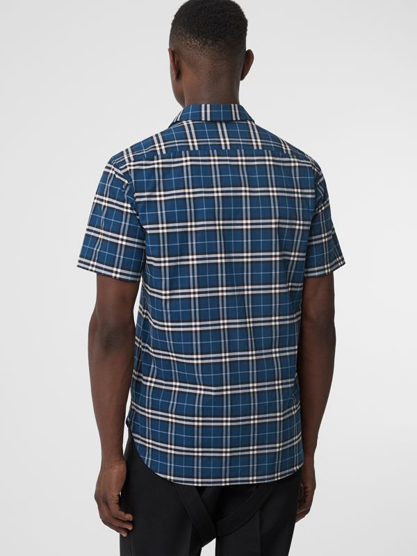 Short-sleeve Check Stretch Cotton Shirt in Steel Blue - Men | Burberry - cell image 2