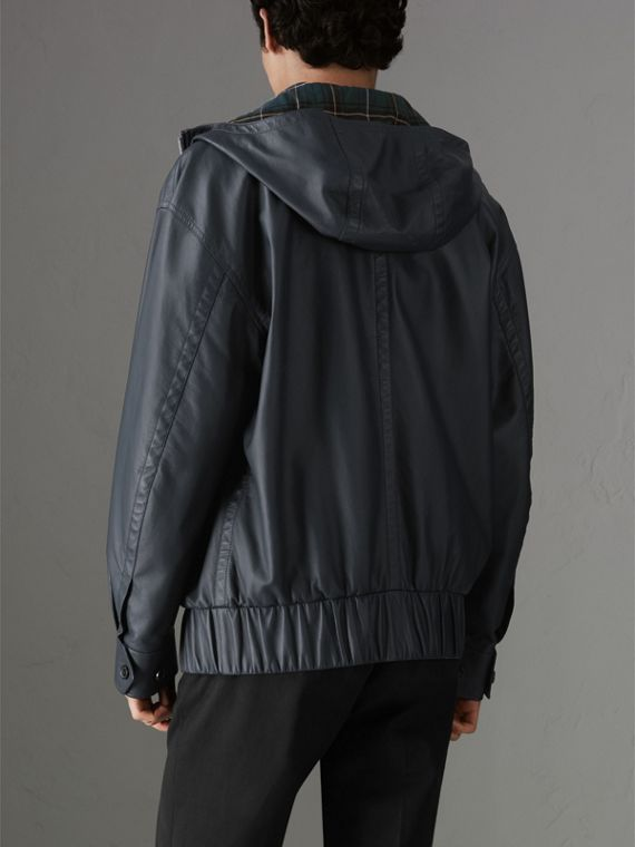 Hooded Lambskin Bomber Jacket in Navy - Men | Burberry - cell image 2