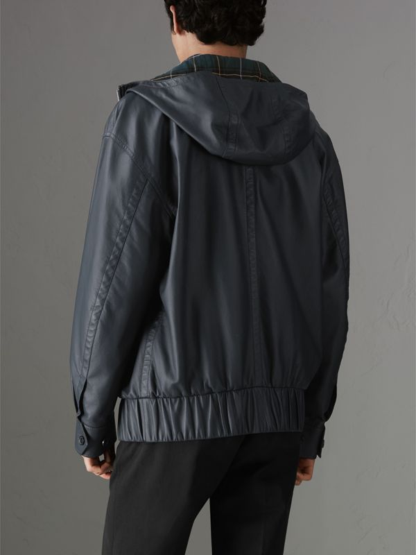 Hooded Lambskin Bomber Jacket in Navy - Men | Burberry Singapore - cell image 2