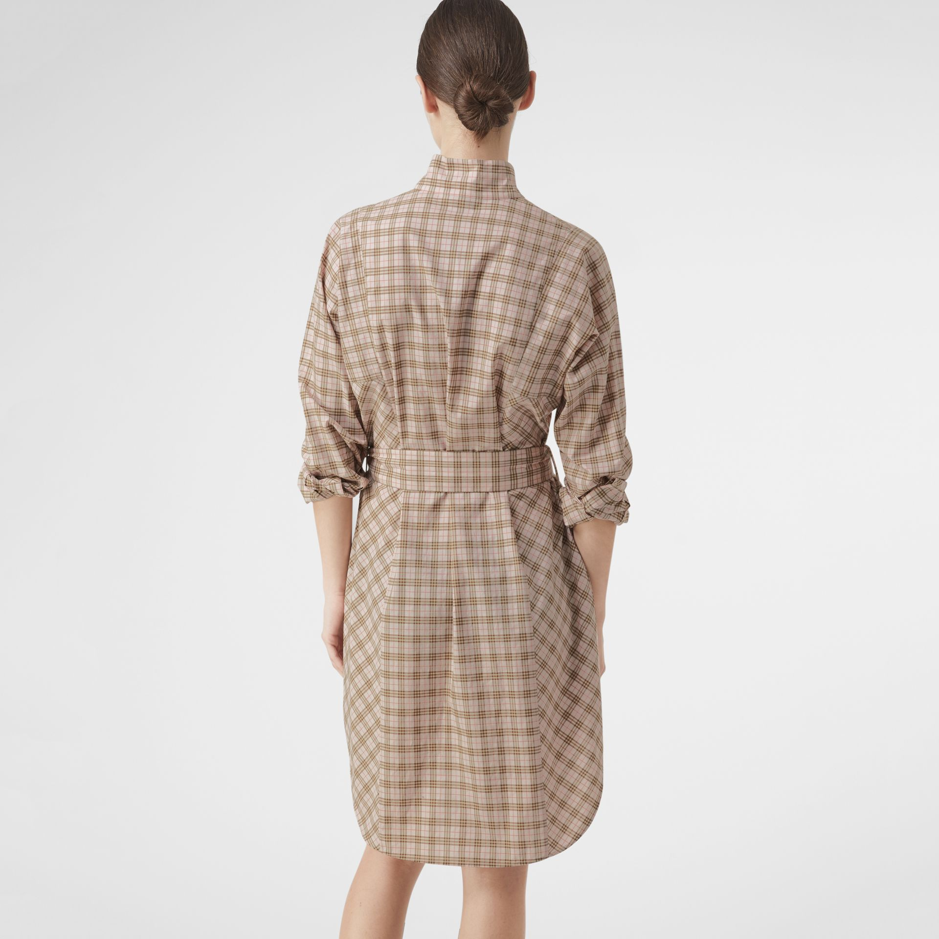Check Cotton Tie-waist Shirt Dress in Ice Pink - Women | Burberry Singapore - gallery image 2