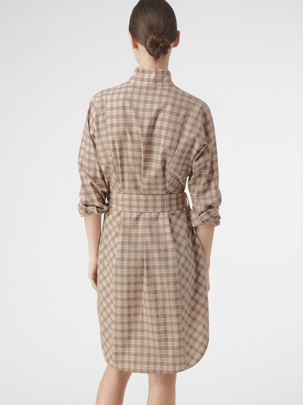 Check Cotton Tie-waist Shirt Dress in Ice Pink - Women | Burberry - cell image 2