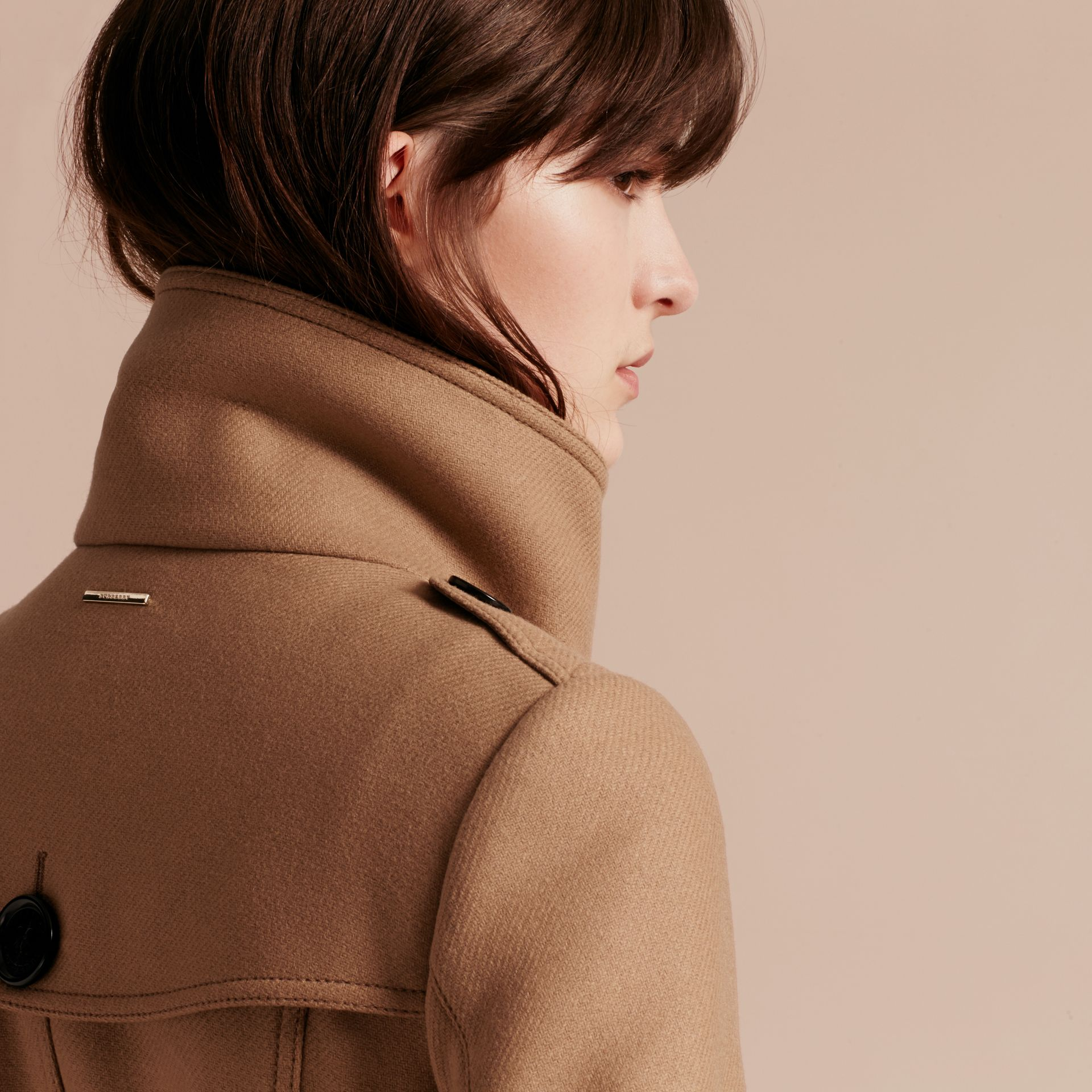 Technical Wool Cashmere Funnel Neck Coat in Camel - gallery image 7