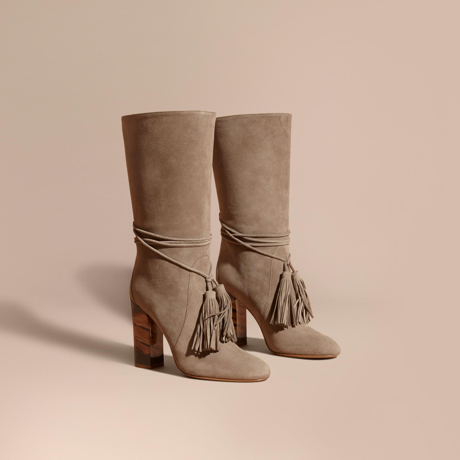 Dark heather melange Tasselled Suede Pull-on Boots - gallery image 1