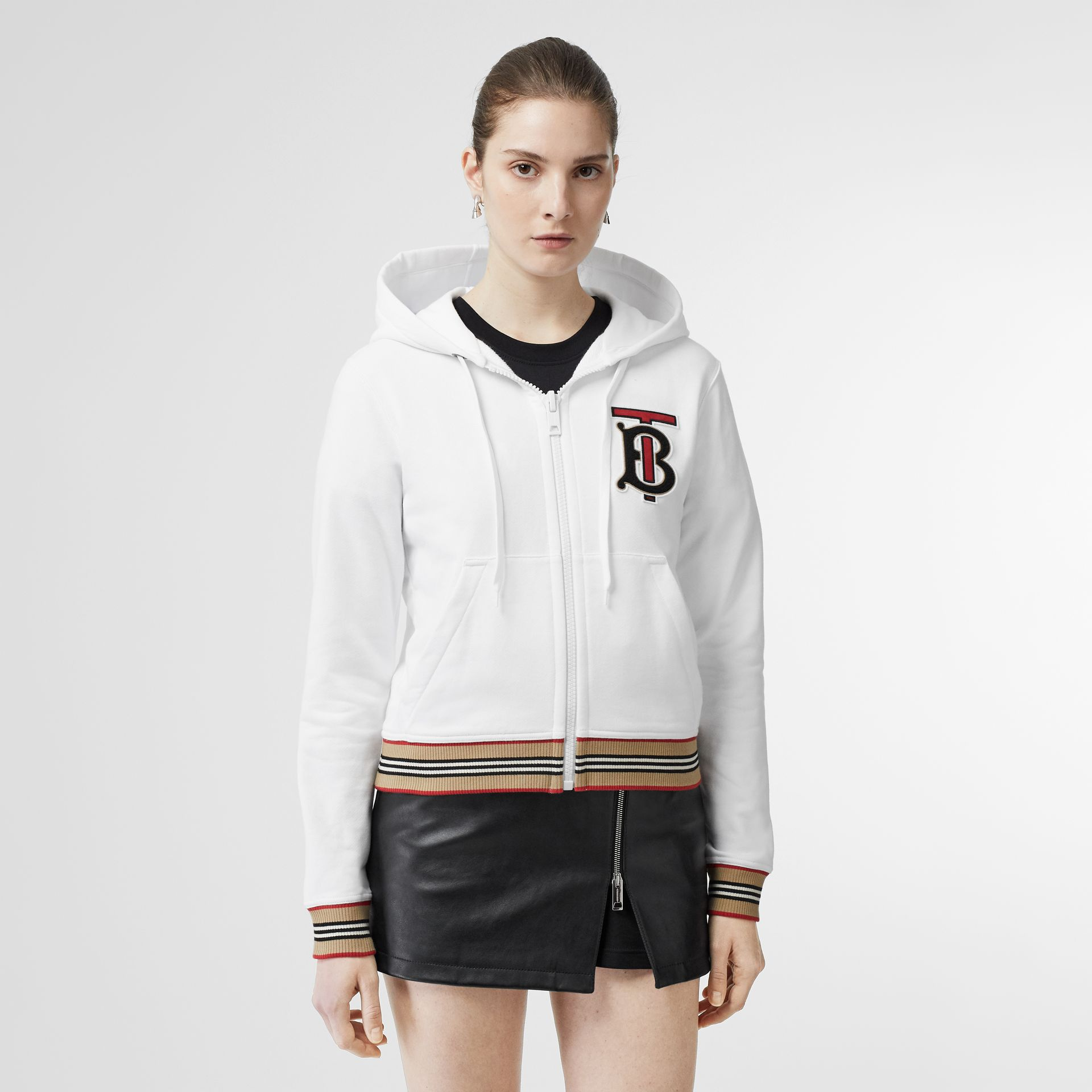 Icon Stripe Detail Monogram Motif Hooded Top in White - Women | Burberry Singapore - gallery image 4