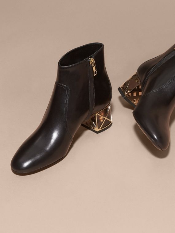 Black Check Heel Leather Ankle Boots Black - cell image 2