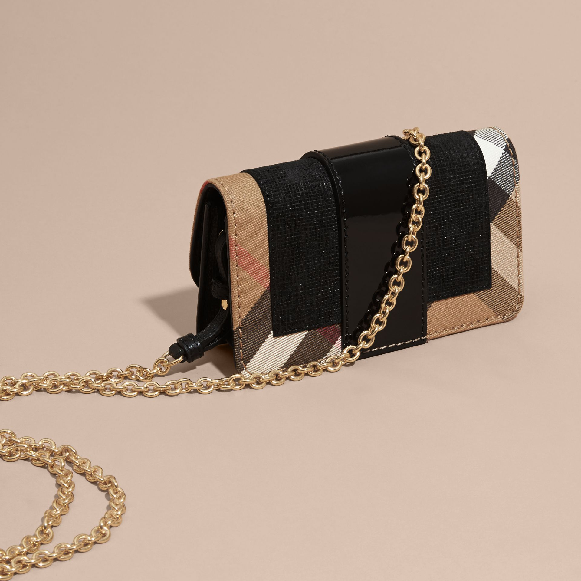 Black The Mini Buckle Bag in Leather and House Check Black - gallery image 5