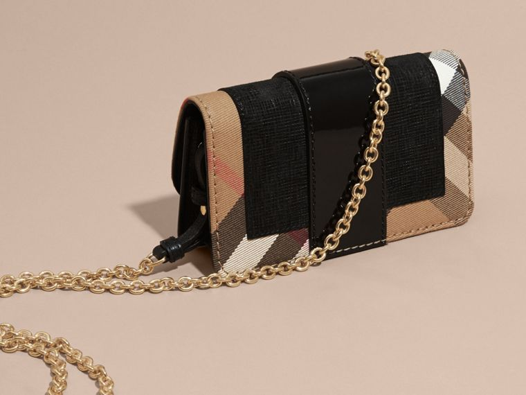 The Mini Buckle Bag in Leather and House Check in Black - Women | Burberry Hong Kong - cell image 4