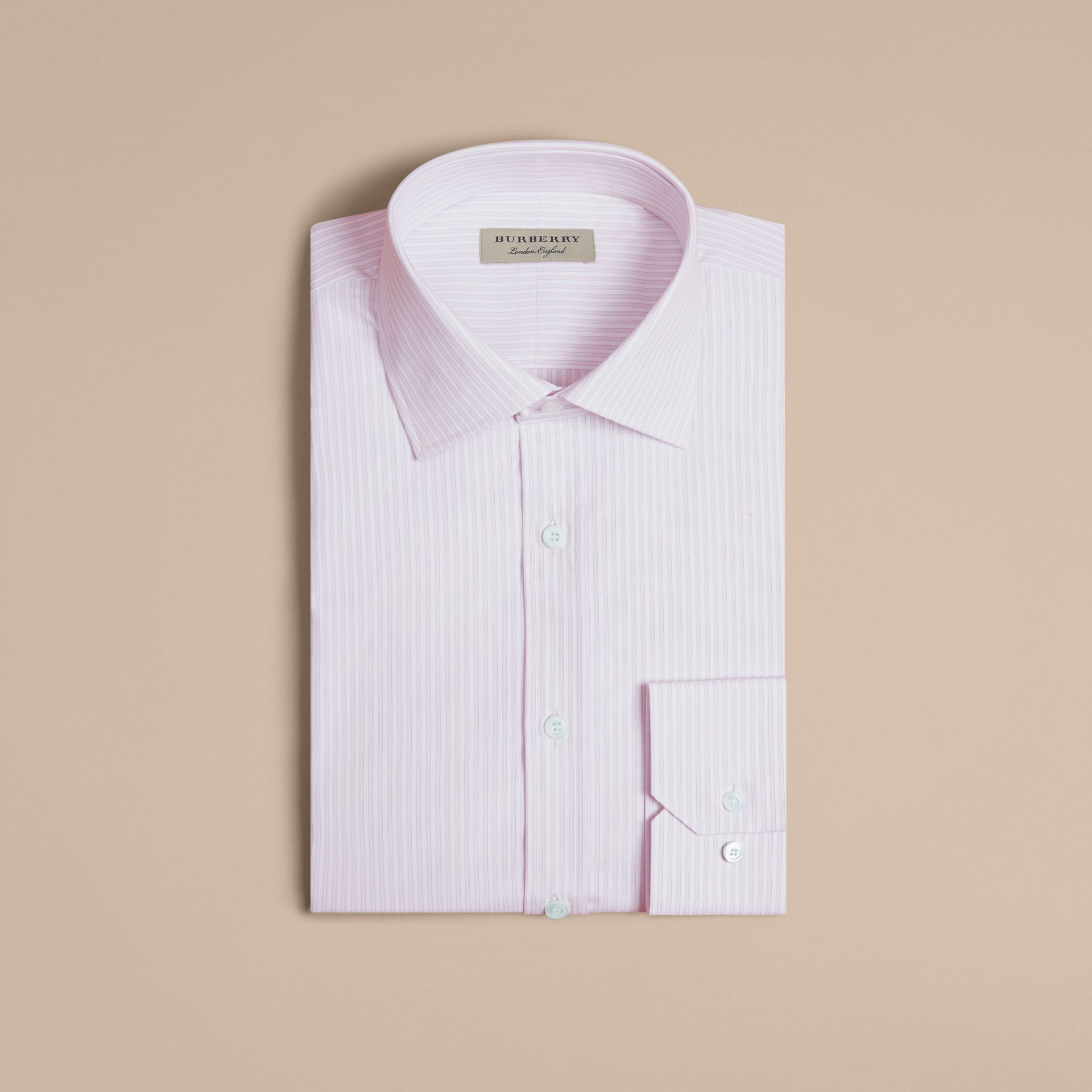 City lilac Modern Fit Double-cuff Striped Cotton Shirt - gallery image 4