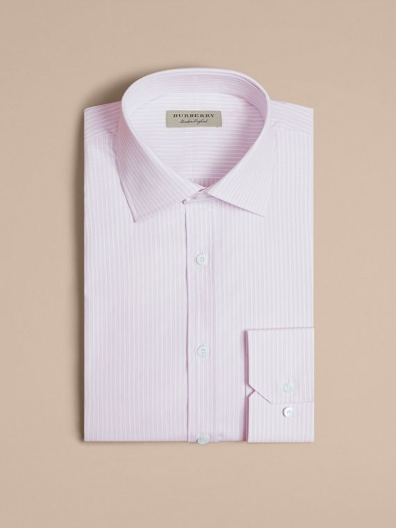 City lilac Modern Fit Double-cuff Striped Cotton Shirt - cell image 3