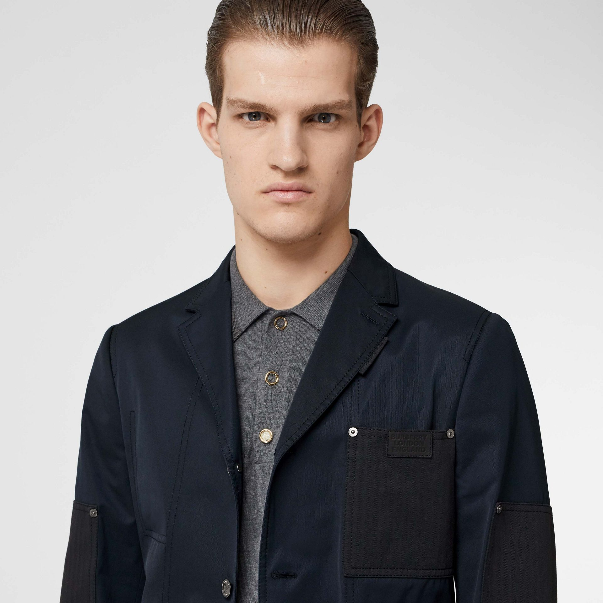 Herringbone Patch Detail Cotton Twill Blend Jacket in Navy - Men | Burberry - gallery image 1