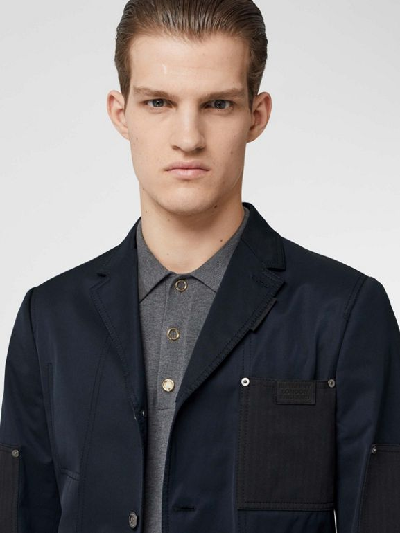 Herringbone Patch Detail Cotton Twill Blend Jacket in Navy - Men | Burberry Hong Kong S.A.R - cell image 1
