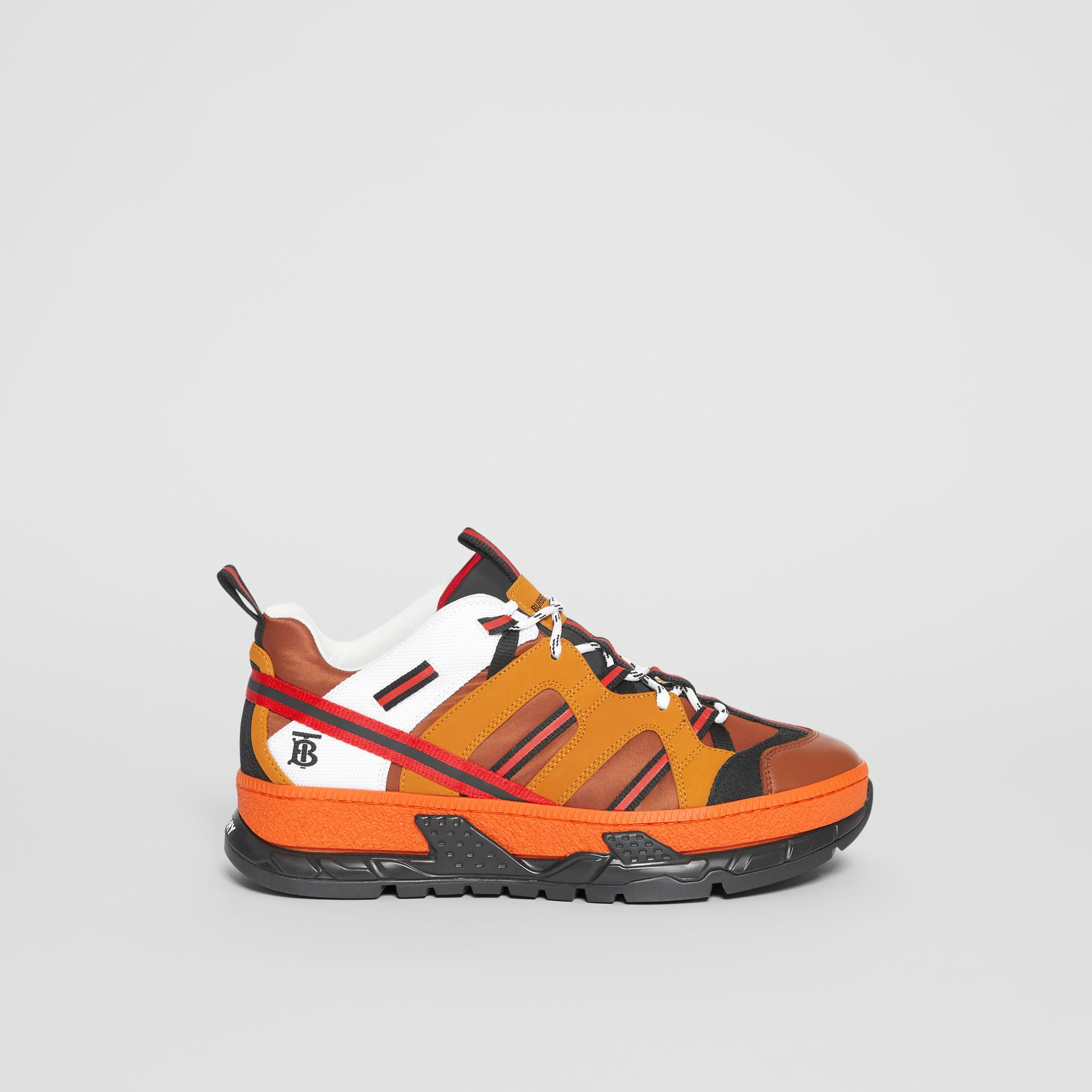Nylon and Nubuck Union Sneakers in Orange - Men | Burberry - gallery image 5
