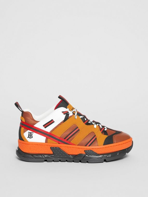 Nylon and Nubuck Union Sneakers in Orange