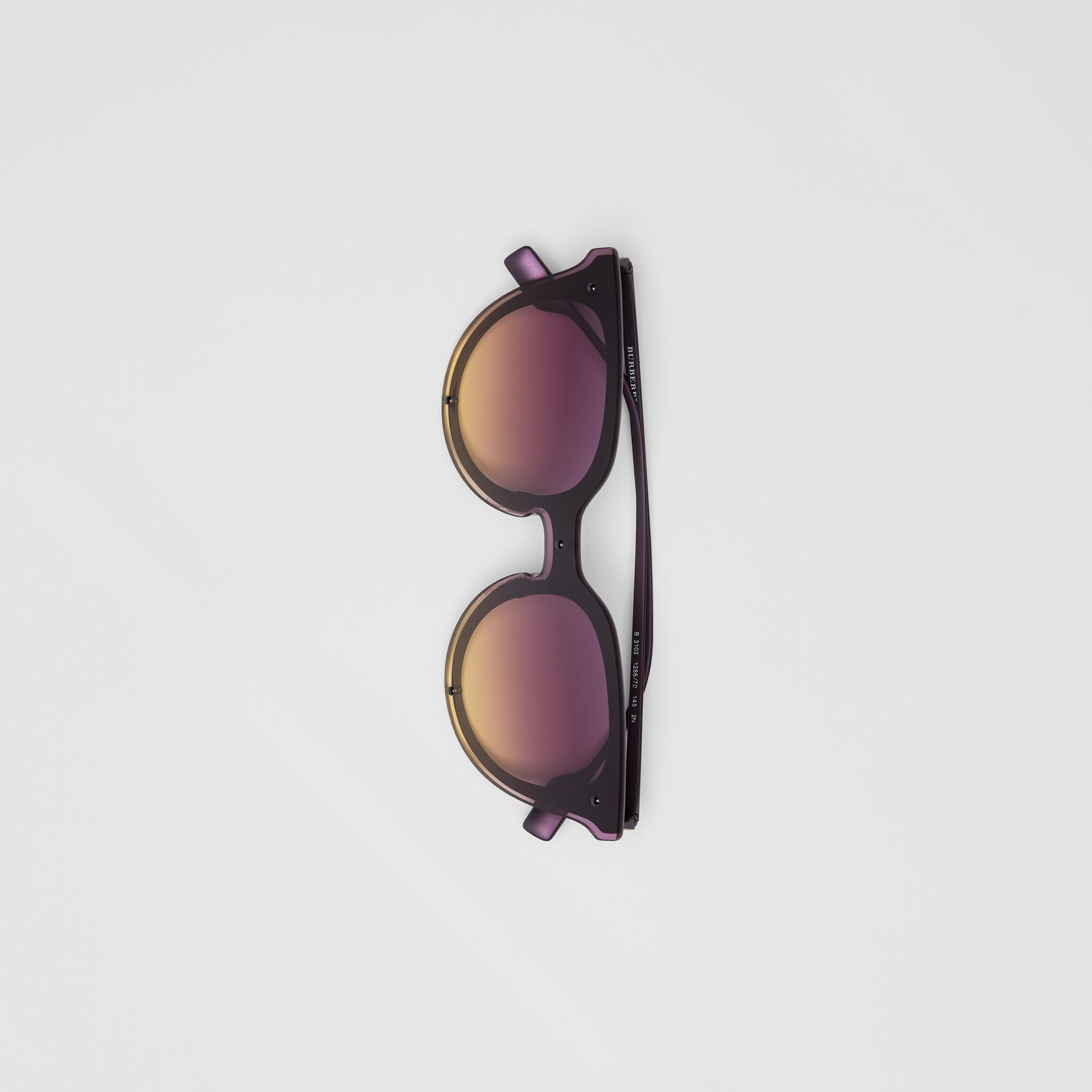 Keyhole Round Frame Shield Sunglasses in Purple - Women | Burberry Hong Kong - gallery image 3