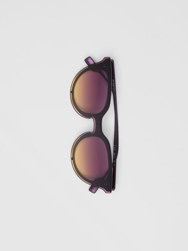 Keyhole Round Frame Shield Sunglasses in Purple - Women | Burberry Hong Kong - cell image 3