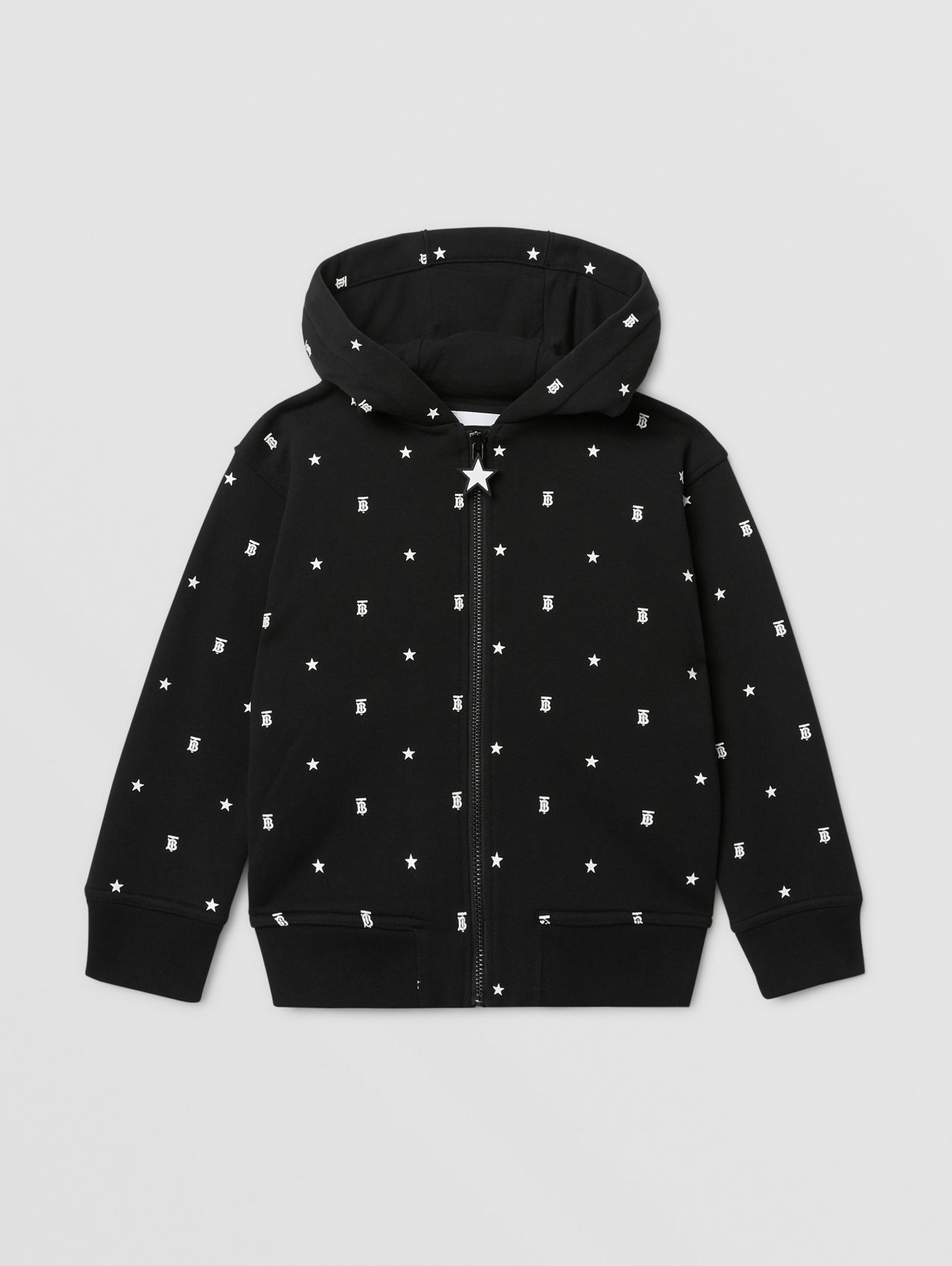 Star and Monogram Motif Cotton Hooded Top in Black