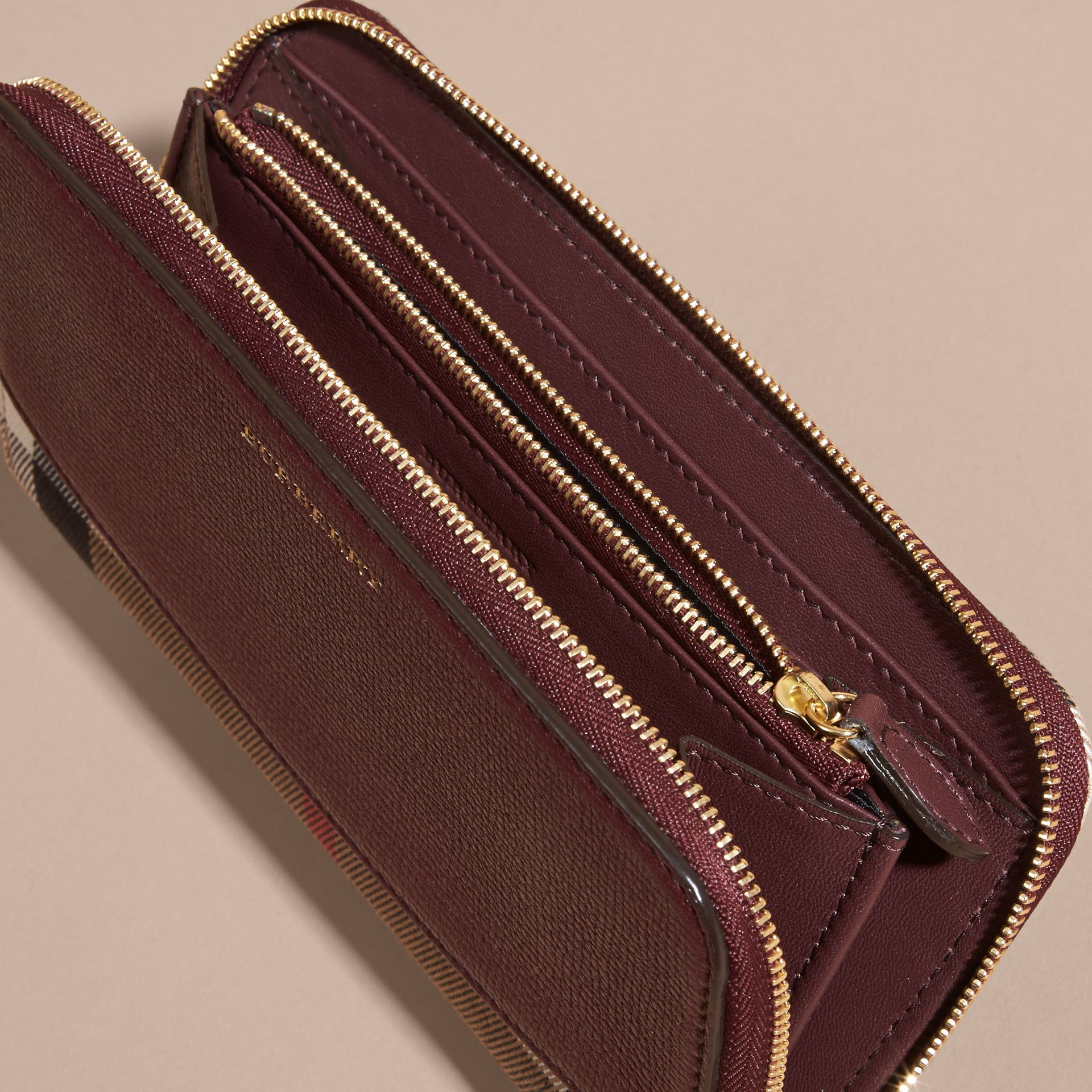 House Check and Leather Ziparound Wallet in Mahogany Red - gallery image 5