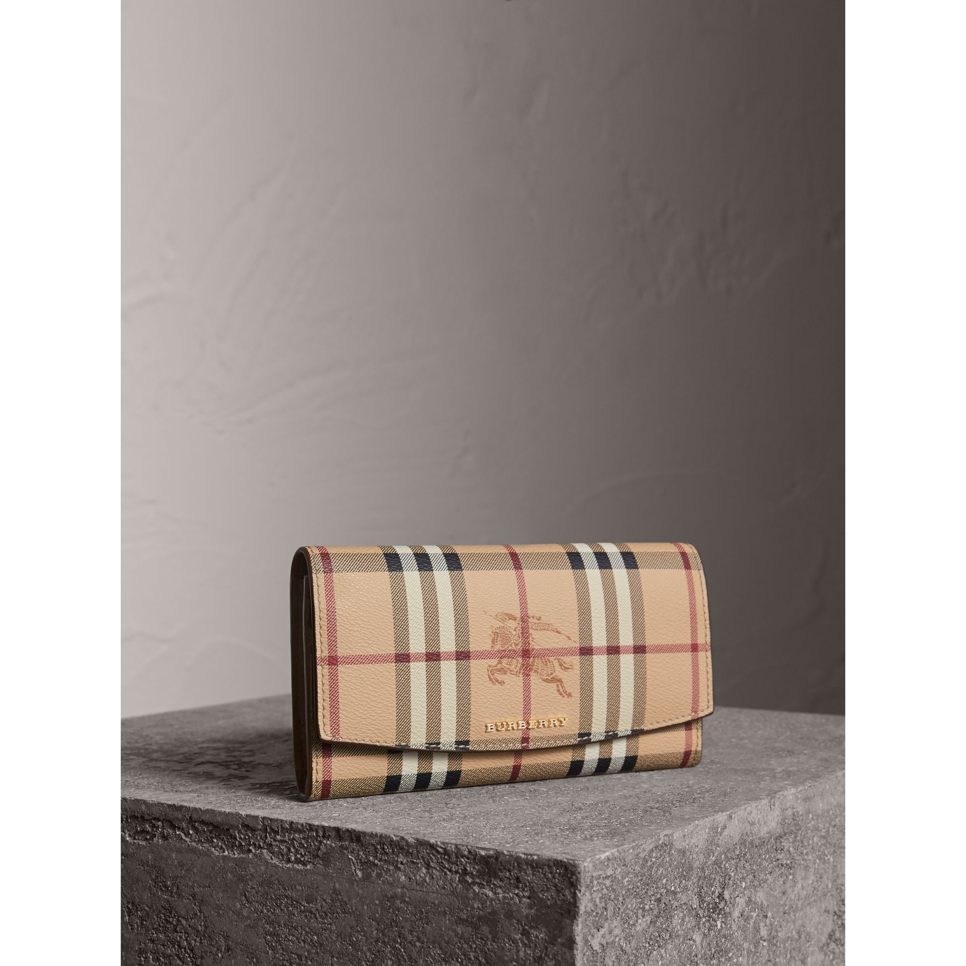 Haymarket Check and Leather Slim Continental Wallet - Women | Burberry - gallery image 1