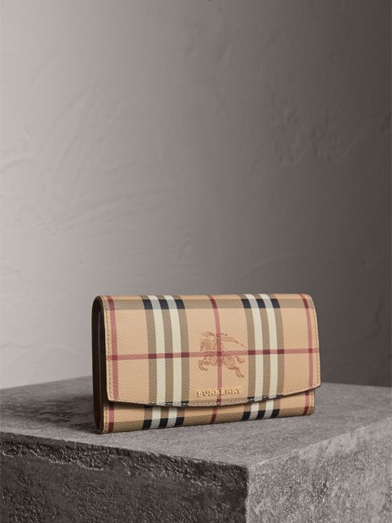 Haymarket Check and Leather Slim Continental Wallet - Women | Burberry