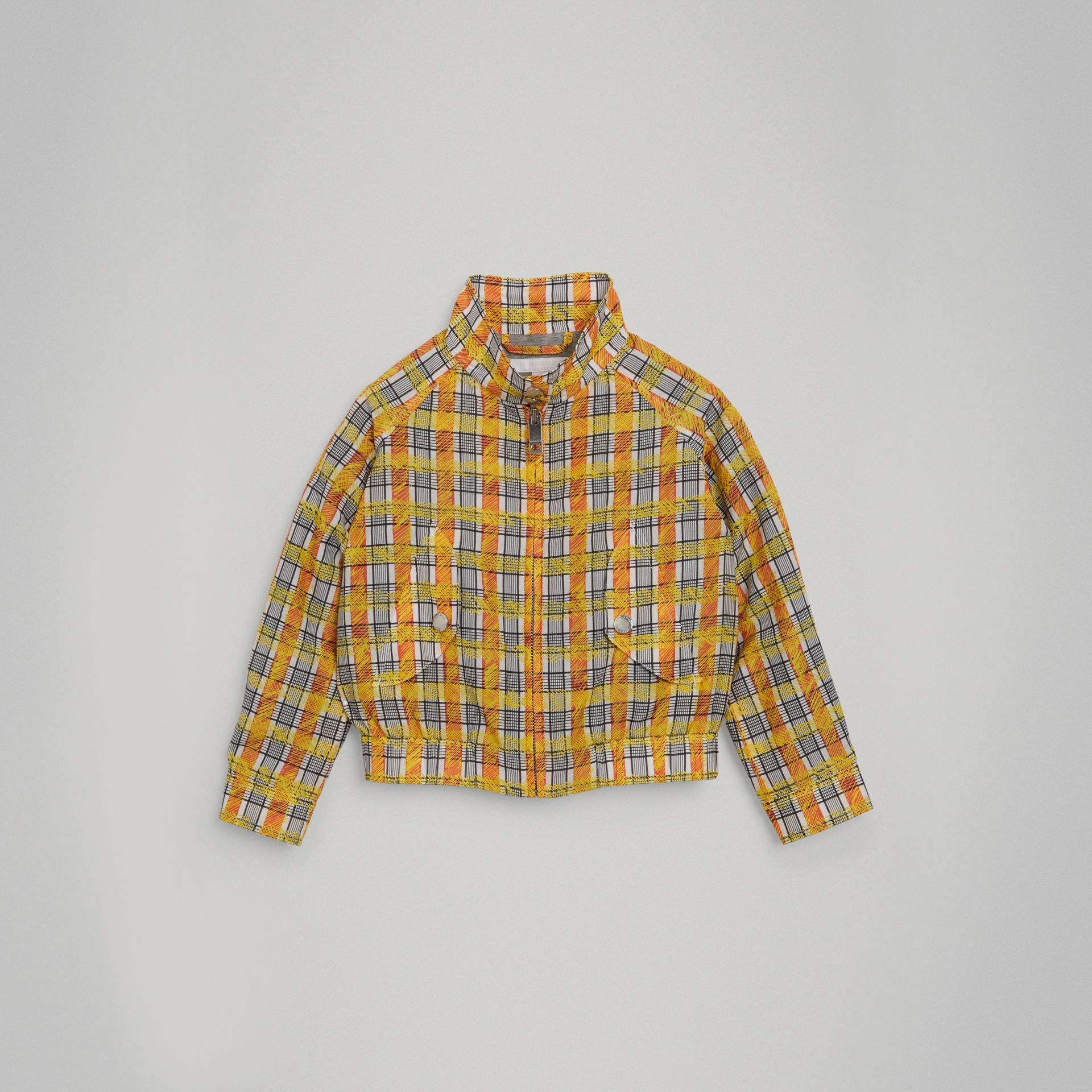 Scribble Check Cotton Silk Harrington Jacket in Bright Yellow - Girl | Burberry - gallery image 0