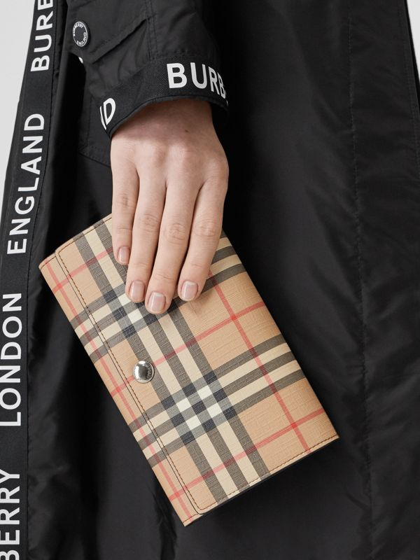 Vintage Check E-canvas Wallet with Detachable Strap in Malt Brown - Women | Burberry United Kingdom - cell image 2