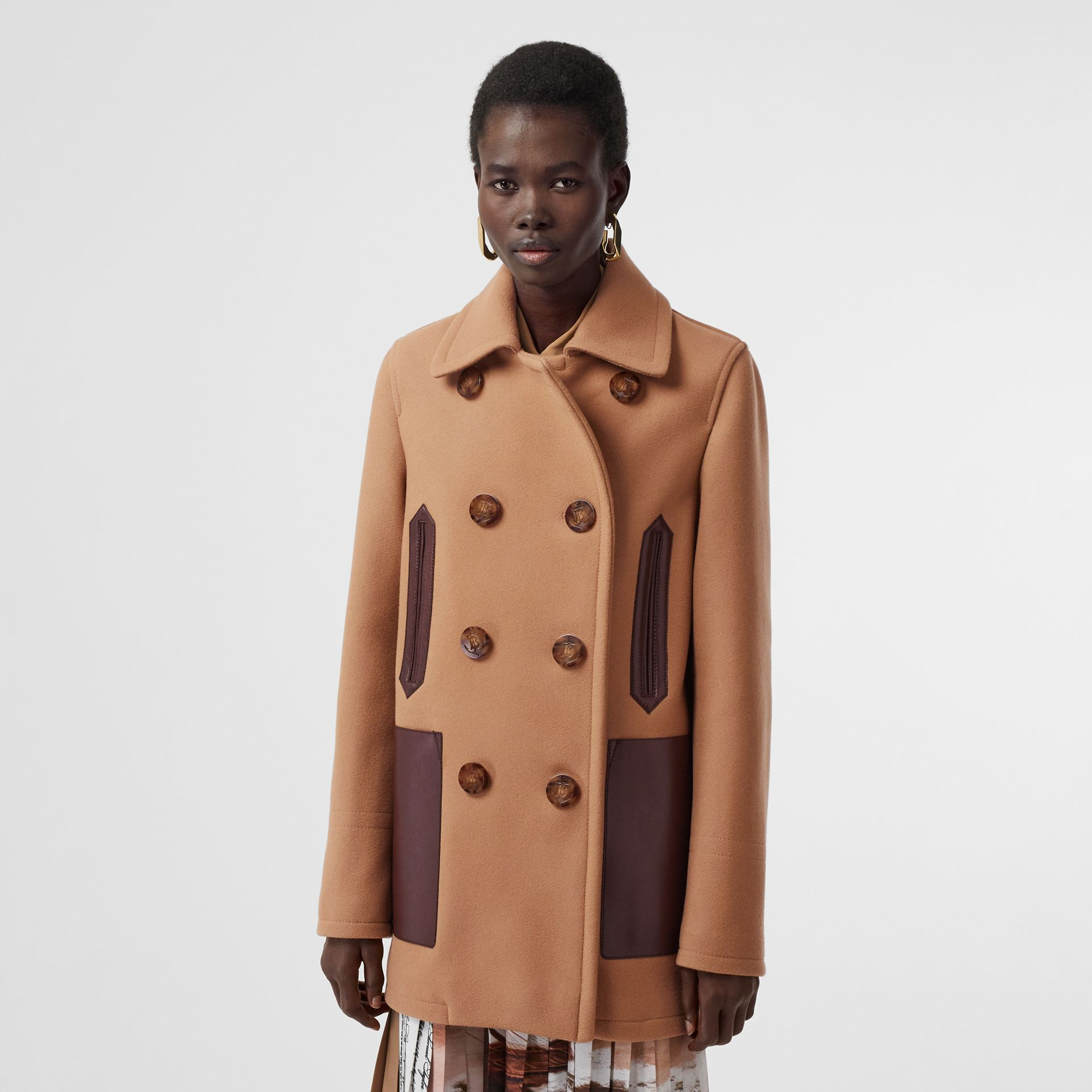 Lambskin Pocket Wool Blend Pea Coat in Camel - Women | Burberry - gallery image 5