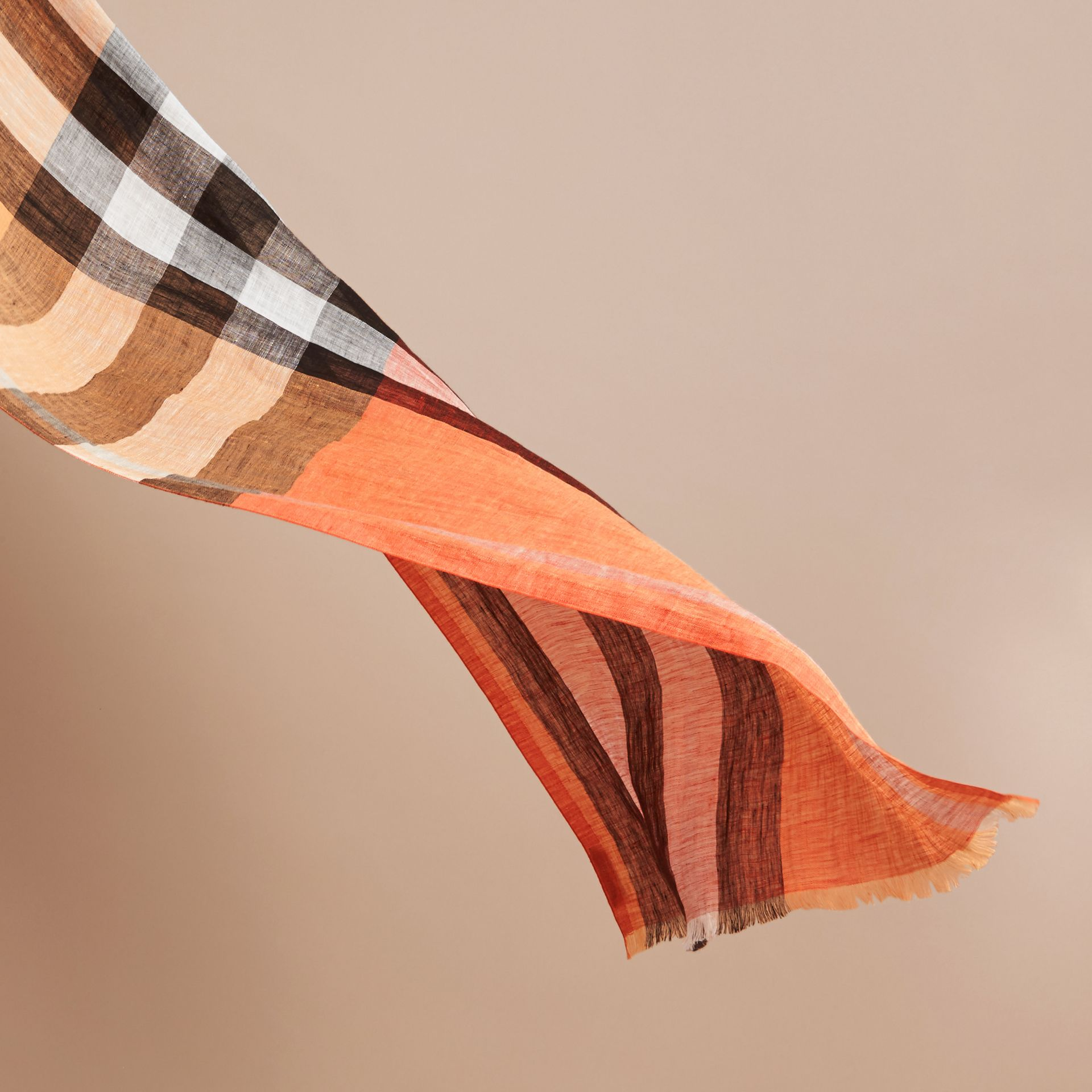 Lightweight Check Linen Scarf Clementine - gallery image 4