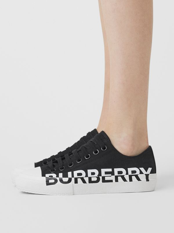 Logo Print Two-tone Cotton Gabardine Sneakers in Black/white - Women | Burberry - cell image 2