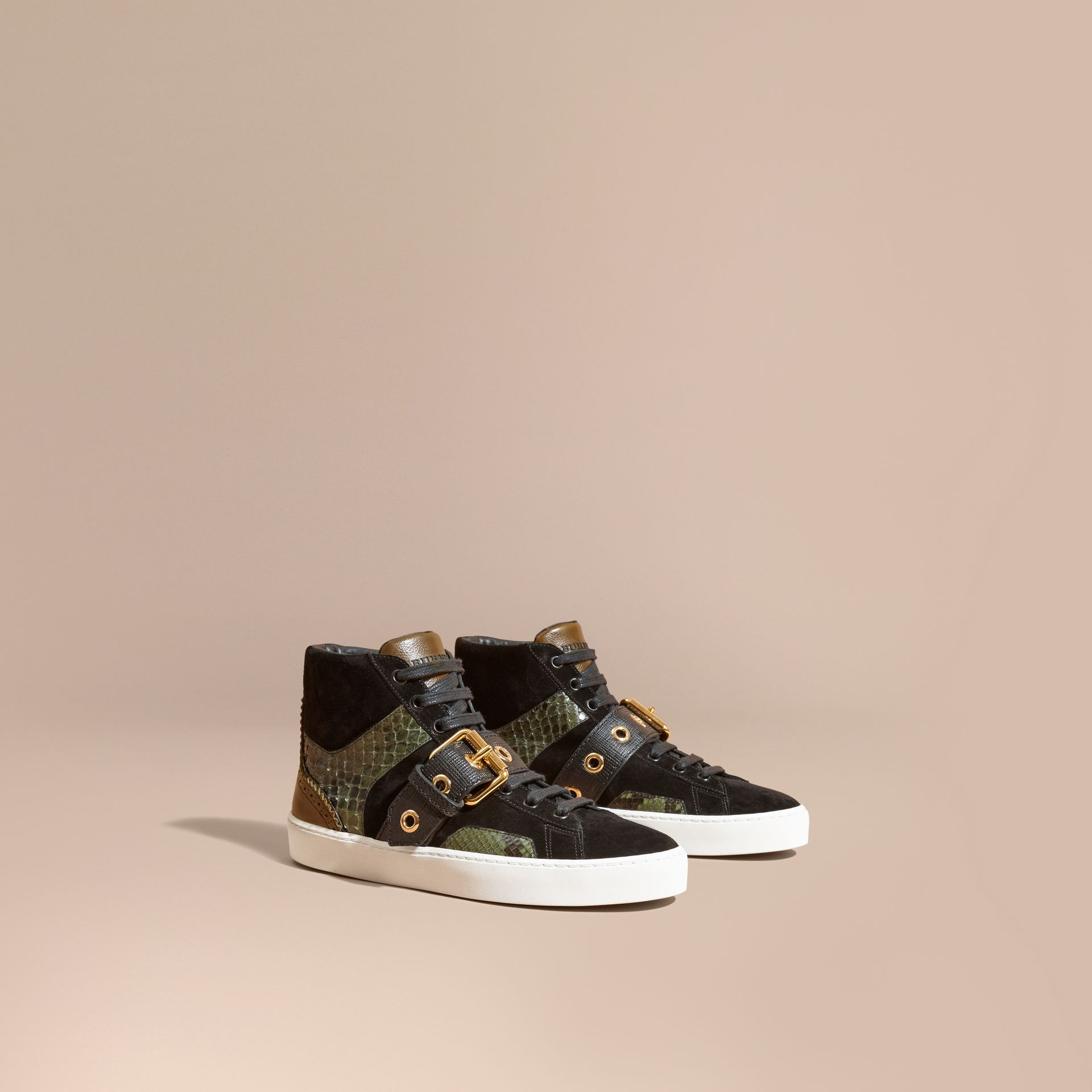 Buckle Detail Leather and Snakeskin High-top Trainers Military Olive - gallery image 1