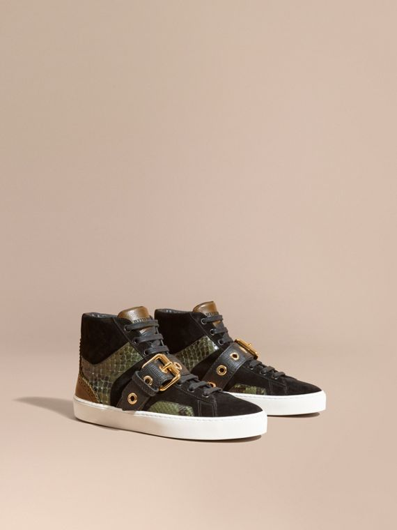Buckle Detail Leather and Snakeskin High-top Trainers Military Olive