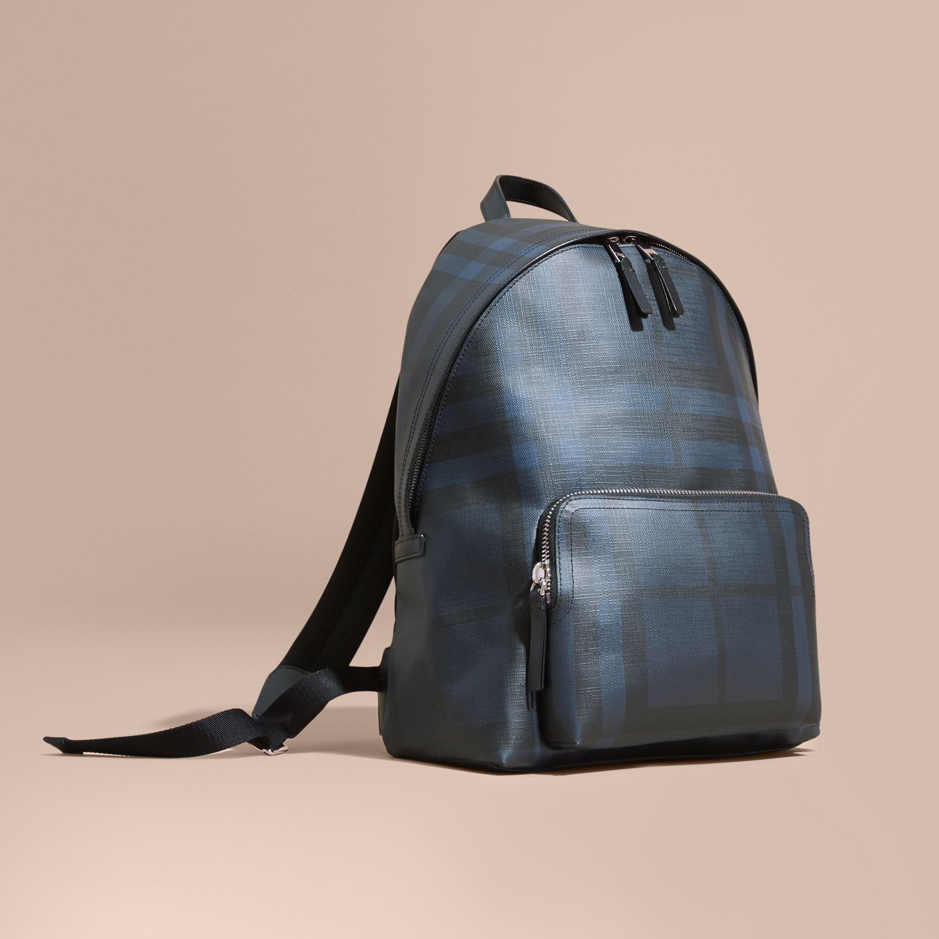 Leather Trim London Check Backpack Navy/black - gallery image 1