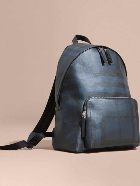 Leather-trimmed London Check Backpack Navy/black