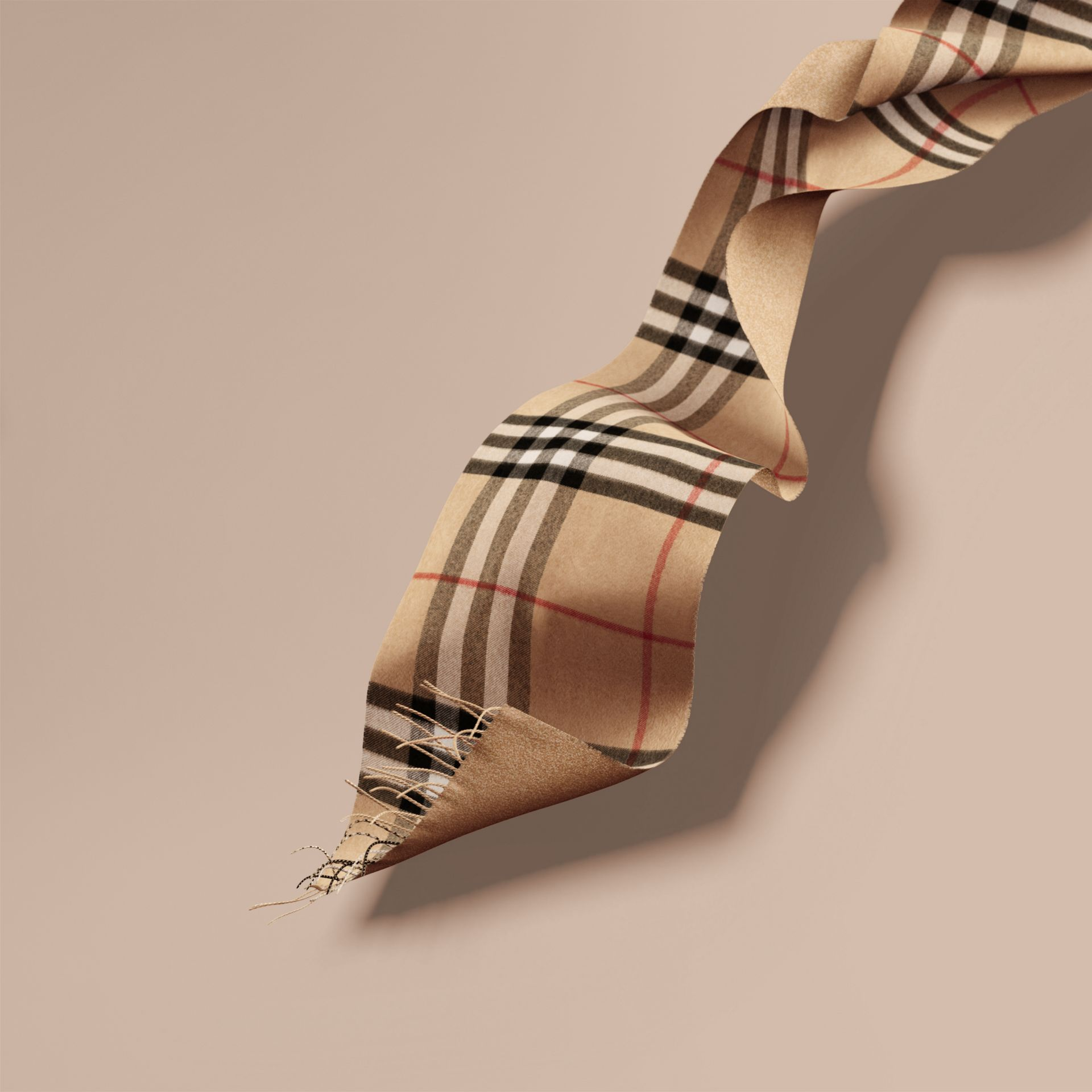 Reversible Metallic Check Cashmere Scarf in Camel | Burberry - gallery image 1