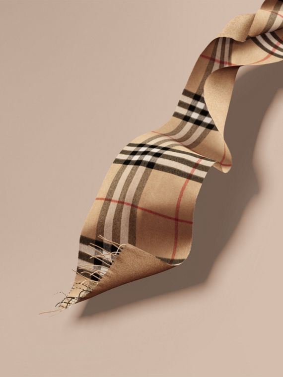 Reversible Metallic Check Cashmere Scarf in Camel | Burberry Canada