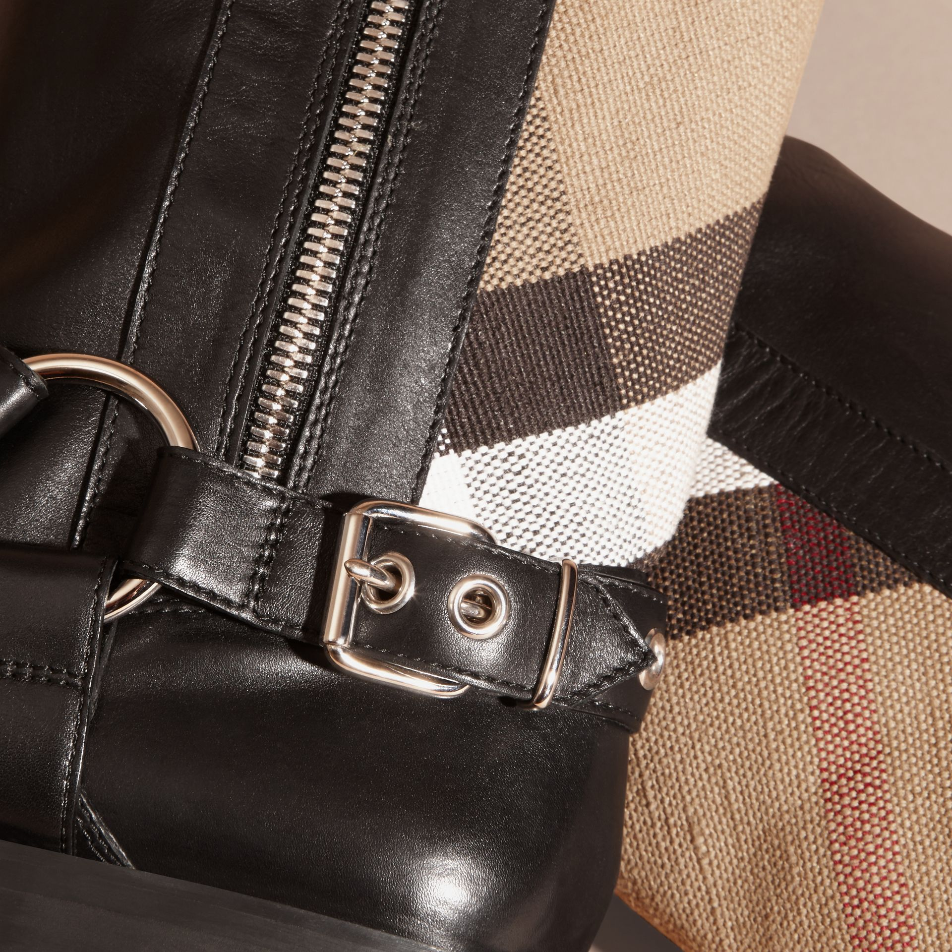 Black Buckle Detail Leather and Canvas Check Boots - gallery image 2