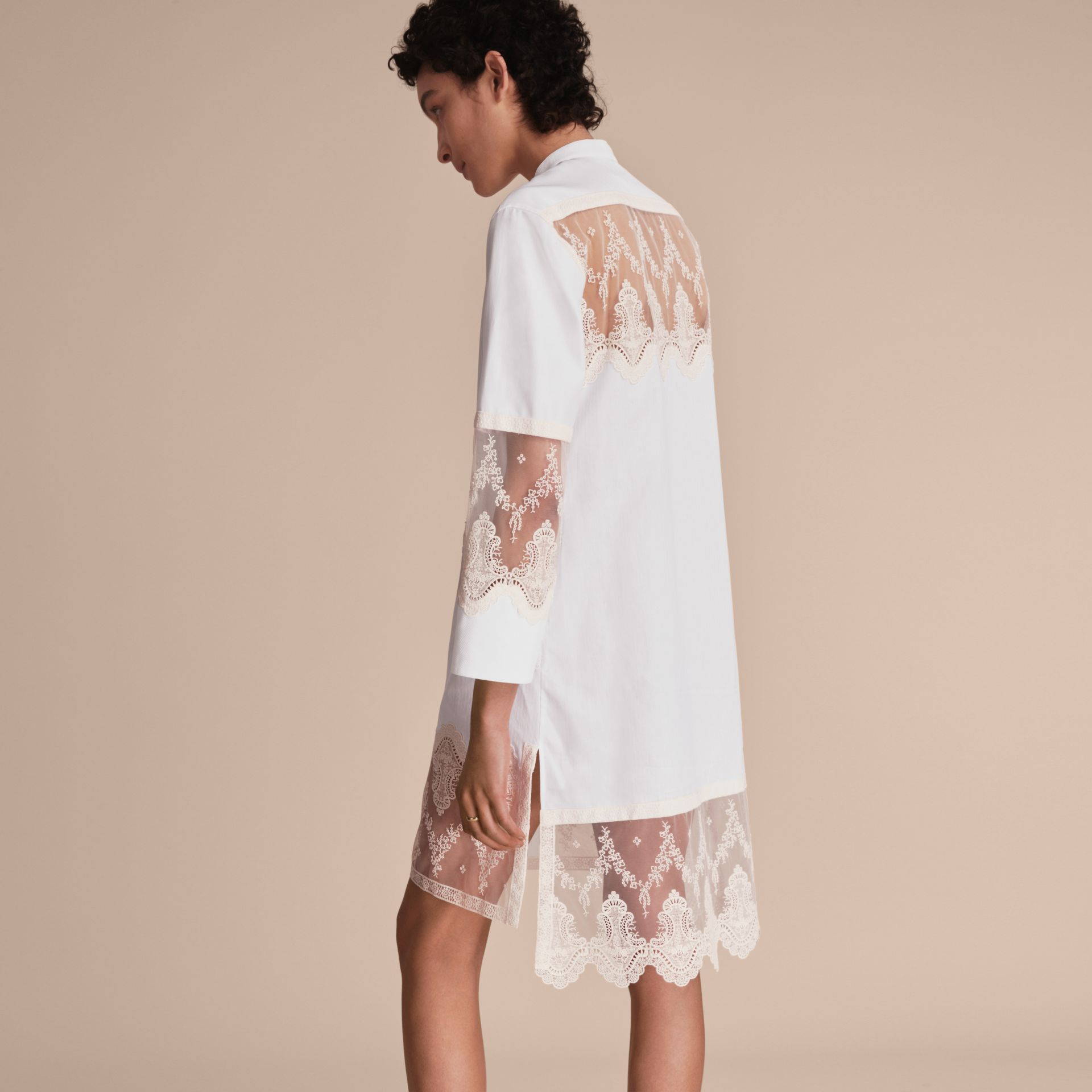 Lace Cutwork Cotton Shirt Dress in White - Women | Burberry - gallery image 3