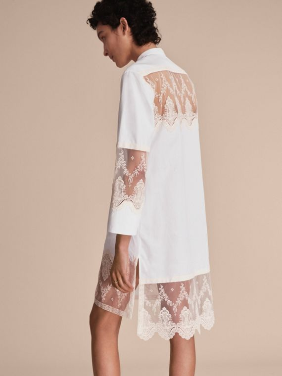 Lace Cutwork Cotton Shirt Dress in White - Women | Burberry - cell image 2