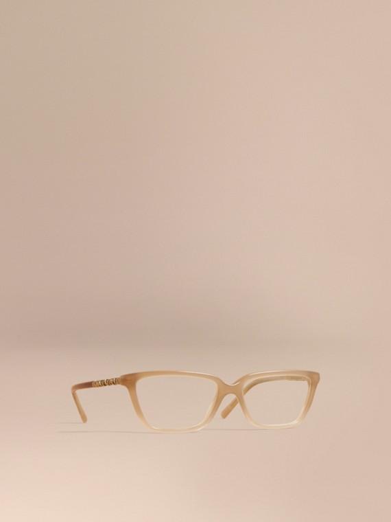 Monture œil-de-chat rectangulaire pour lunettes de vue avec détails check - Femme | Burberry