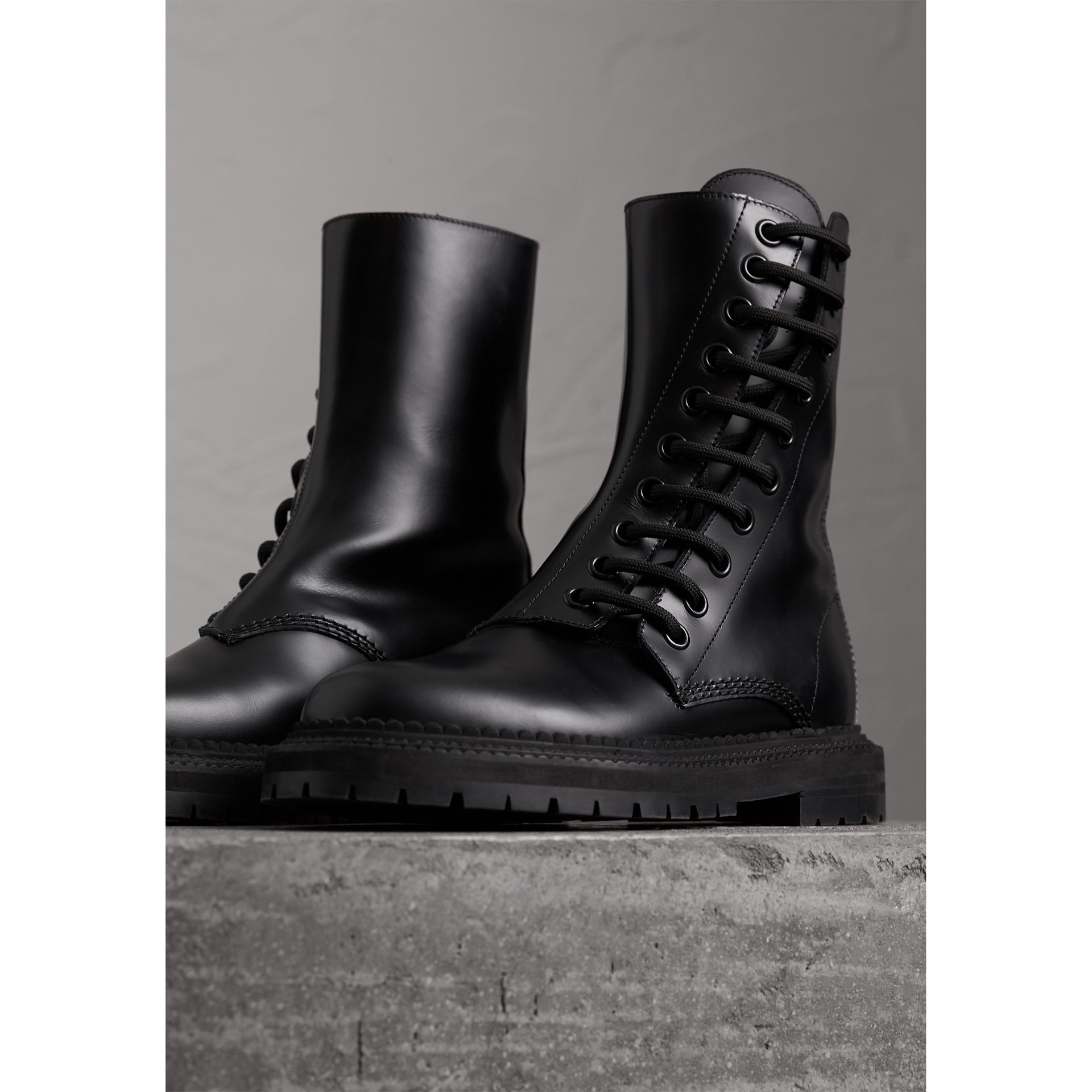 Leather Asymmetric Lace-up Boots in Black - Women | Burberry - gallery image 4