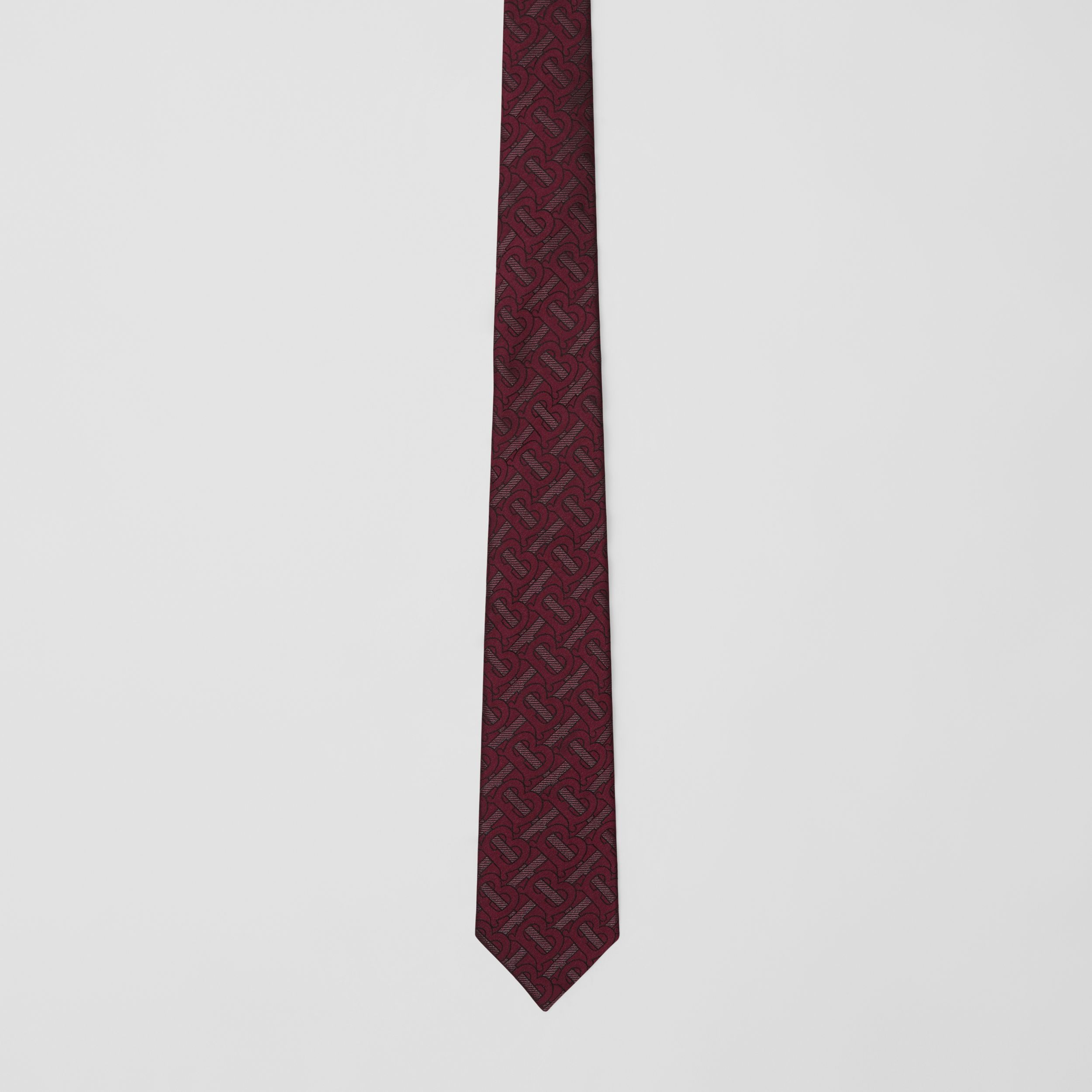 Classic Cut Monogram Silk Blend Jacquard Tie in Burgundy - Men | Burberry Australia - 4