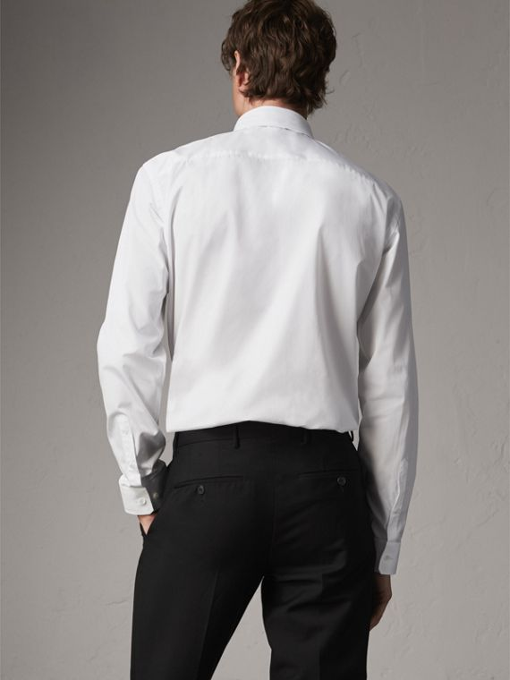 Modern Fit Button-down Collar Cotton Poplin Shirt in White - Men | Burberry - cell image 2