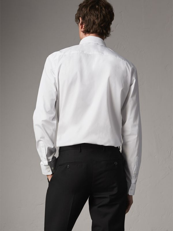 Modern Fit Button-down Collar Cotton Poplin Shirt in White - Men | Burberry United Kingdom - cell image 2