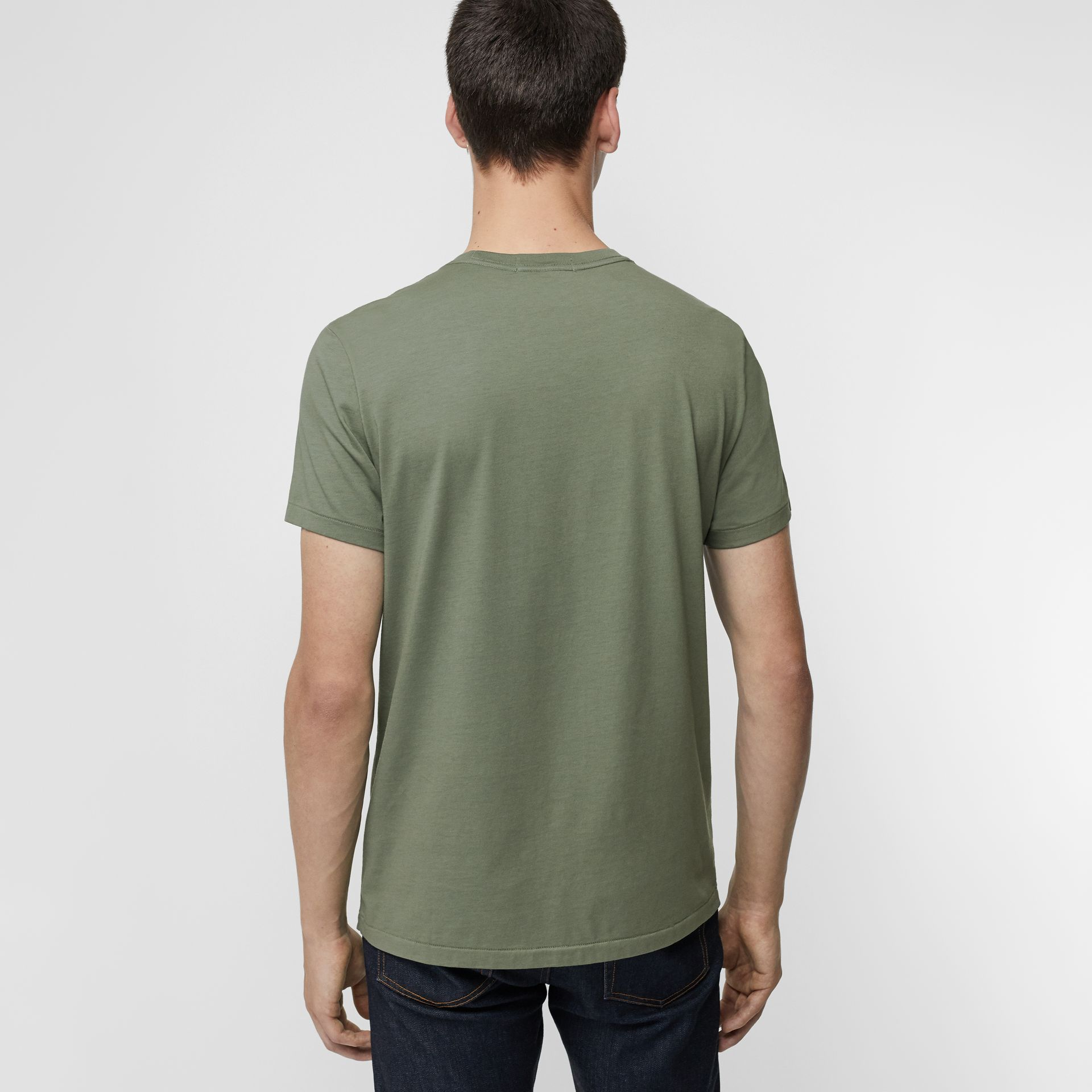 Cotton T-shirt in Clay Green - Men | Burberry - gallery image 2