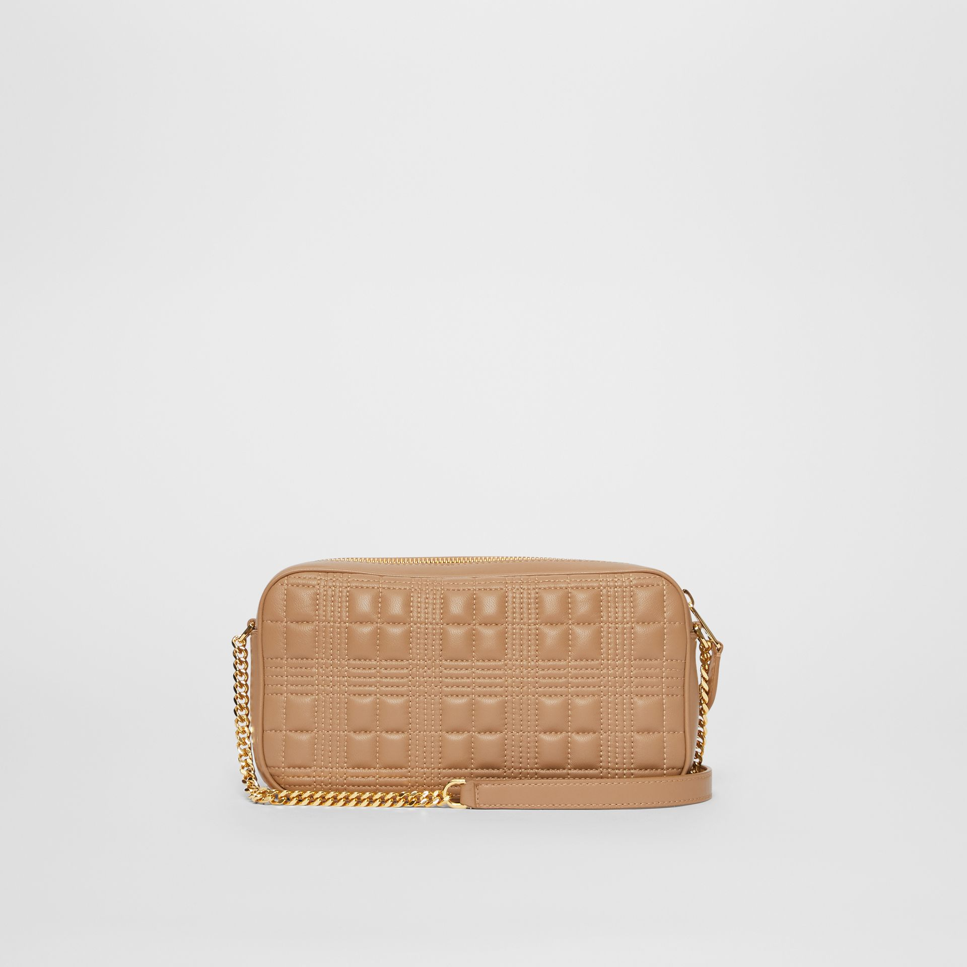 Quilted Check Lambskin Camera Bag in Camel - Women | Burberry - gallery image 7